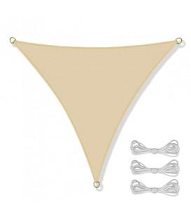 SLUNEČNÍ PLACHTA trojúhelník STÍNĚNÍ 3,6x3,6x3,6 m béžový