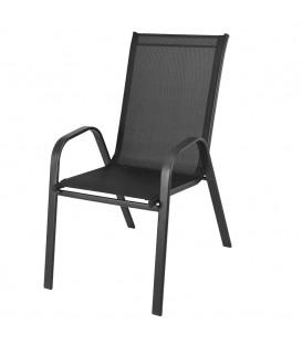 Zahradní židle, křeslo na terasu či balkón, kovové Černá