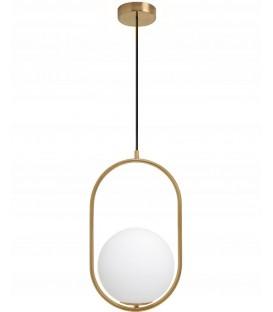 Závěsná lampa se skleněným kuličkovým zlatým lustrem