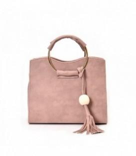 Kabelka kufřík do ruky přes rameno kůže střapce růžový /  M72