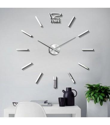 Moderní nástěnné hodiny, velké, stříbrné