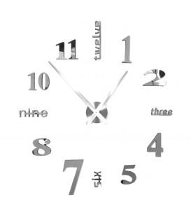 Moderní nástěnné hodiny velké stříbrné