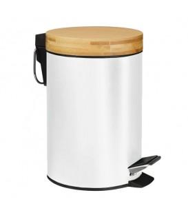 Odpadkový koš do koupelny kov bambus 3L - bílý