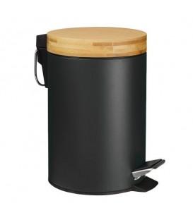 Odpadkový koš do koupelny, kov, bambus, 3L - černý