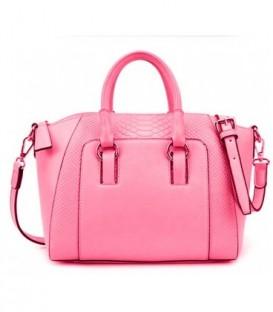 Kožená kabelka kufřík lichoběžník růžový WS1118