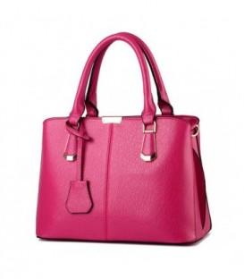 Kožená kabelka lichoběžník velká  růžový neon WB1736