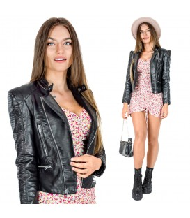 Černá dámská kožená motorkářská bunda