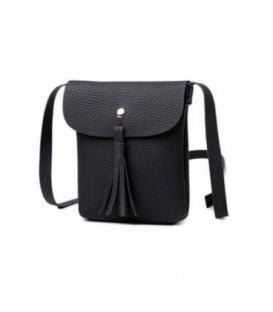 Malá dámská kožená kabelka BARVY střapce černá WB1707