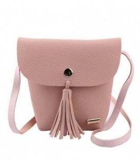 Malá dámská kožená kabelka BARVY střapce růžový WB1707