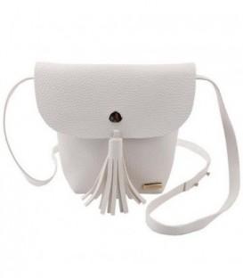 Malá dámská kožená kabelka BARVY střapce šedá WB1707