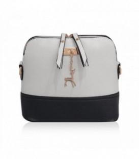 Malá kabelka psaníčko přes rameno kůže BARVY Černobílý Q1