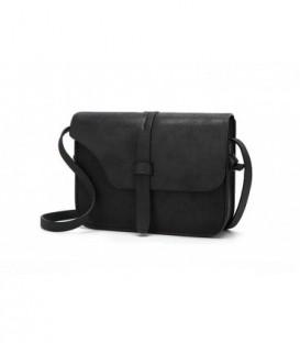Malá kožená kabelka fialová černá kůže černá / Q7