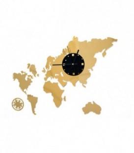 MODERNÍ NÁSTĚNNÉ HODINY mapa světa 3 barvy DIY zlato