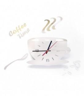 MODERNÍ NÁSTĚNNÉ HODINY šálek kávy 3 barvy DIY stříbro