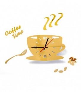 MODERNÍ NÁSTĚNNÉ HODINY šálek kávy 3 barvy DIY zlato