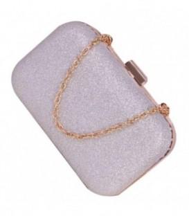 Dámská kabelka na rameno, lesklý  stříbro