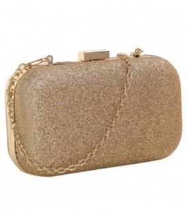Dámská kabelka na rameno, lesklý zlato
