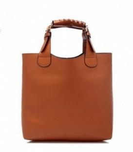 Dámská kožená kabelka hnědý  SHOPPER