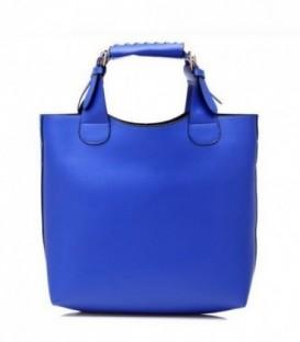 Dámská kožená kabelka modrý SHOPPER