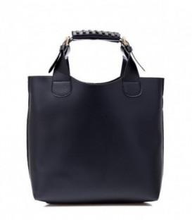 Dámská kožená kabelka černá SHOPPER