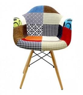 Židle patchwork plyšový daw BAREVNÁ C-437