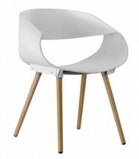 Ohnutá plastová židle do kanceláře obývacího pokoje BÍLÁ