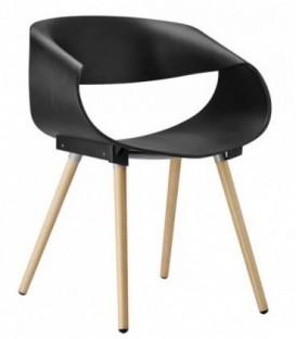 Ohnutá plastová židle do kanceláře obývacího pokoje ČERNÁ