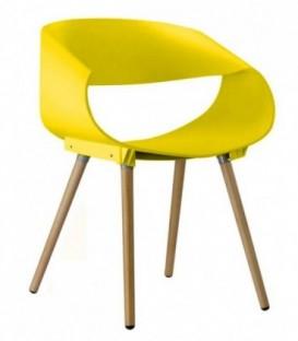 Ohýbaná plastová židle do kanceláře obývacího pokoje ŽLUTÁ