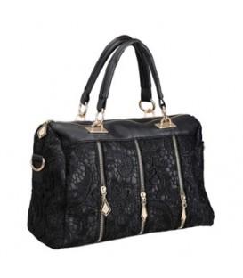 Dámská kožená kabelka kufřík černá  WS1116