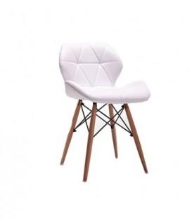 Moderní čalouněná kožená židle DSW BÍLÁ C-531