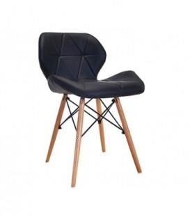 Moderní čalouněná kožená židle DSW ČERNÁ C-531