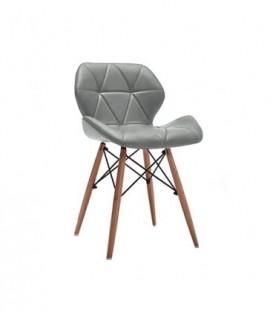 Moderní čalouněná kožená židle DSW ŠEDÁ C-531