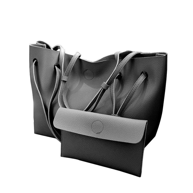 Dámská KOŽENÁ kabelka tmavě šedá  /  WB1722