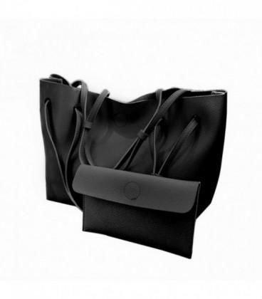 Dámská KOŽENÁ kabelka černá /  WB1722