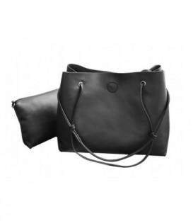 Sada 3w1: velká kabelka, malá kabelka, kosmetička Q1801 černá