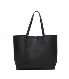 Dámská kožená kabelka velká černá WS1008