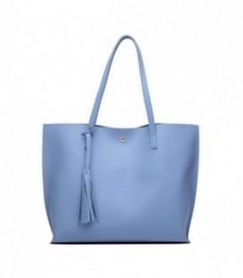 Dámská kožená kabelka velká  modrý WS1008