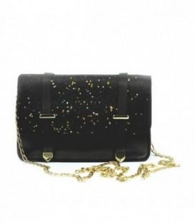 Dámská KOŽENÁ kabelka malý brokát 18022 černá