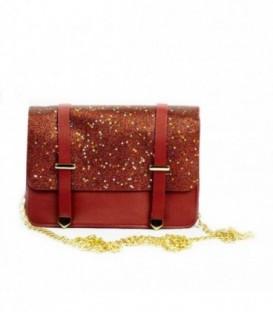 Dámská KOŽENÁ kabelka malý brokát  18022 červená