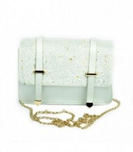 Dámská KOŽENÁ kabelka malý brokát  18022 stříbro