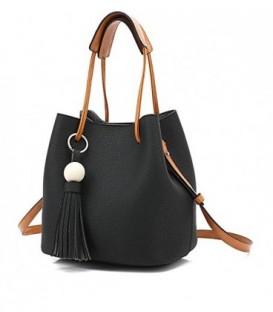 Sada 2w1: velká kabelka + pytlík černá j03