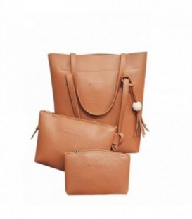 Sada 3w1: velká kabelka, malá kabelka, kosmetička SHOPPER hnědý/ j01