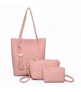 Sada 3w1: velká kabelka, malá kabelka, kosmetička SHOPPER růžový/ j01
