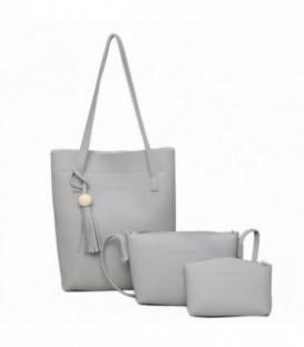 Sada 3w1: velká kabelka, malá kabelka, kosmetička SHOPPER šedá / j01
