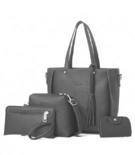 Sada 4w1:velká kabelka, malá kabelka, kosmetička, držák na vizitky tmavě šedá / j02