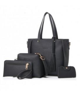 Sada 4w1:velká kabelka, malá kabelka, kosmetička, držák na vizitky černá / j02