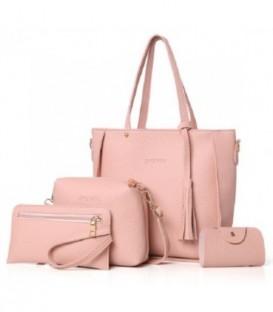 Sada 4w1:velká kabelka, malá kabelka, kosmetička, držák na vizitky růžový/ j02
