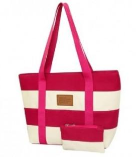 Plážová taška spruhy námořnická pláž barvy růžový C5
