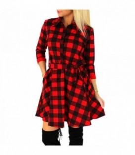 kostkované šaty košile rozšířená mřížka červeno-černá