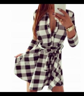 kostkované šaty košile rozšířená mřížka bílo-černá
